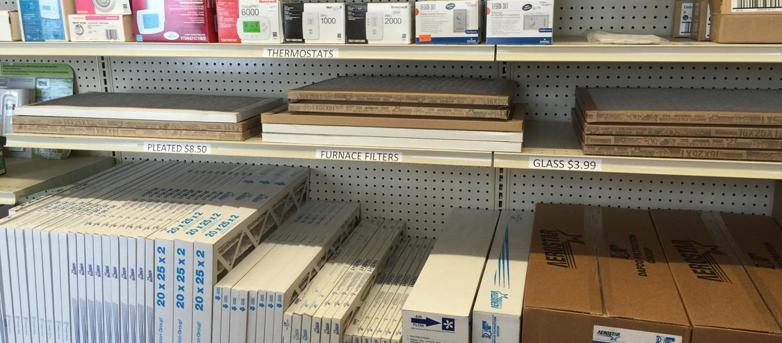 furnace parts and service on a shelf at the store